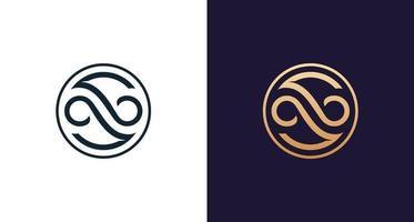 moderno y elegante logotipo de letra s infinito en borde circular vector