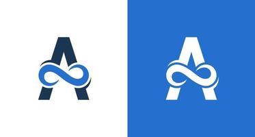 Elegant letter A, wave infinity symbol logo vector