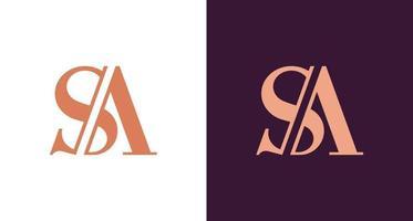 elegante y elegante monograma de la letra sa, logotipo de la letra inicial de lujo sa vector
