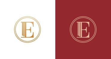 elegante y elegante letra e, logotipo de pilares de la ley vector