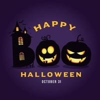 Happy Halloween with Boo House and pumpkins illustration