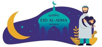 Happy Eid Al Adha Mubarak man with sheep illustration vector