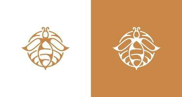 elegante logotipo de silueta de flor de abeja vector