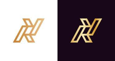 Simple elegant letter RY monogram logo in gold color vector