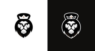 logotipo de ilustración moderna de cabeza de león de rey deportivo vector