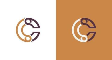 Simple outlined letter C infinity logo vector