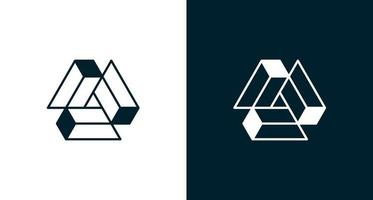 Geometric triangle letter A construction logo vector