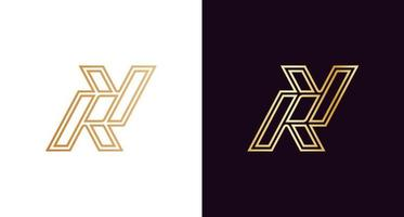 Luxury and stylish letter R, Y monogram logo vector