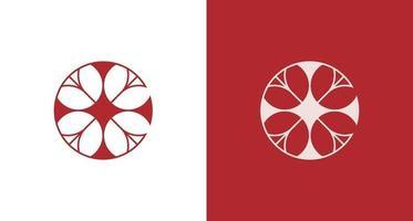 elegante cruz abstracta, flor rosa, logotipo de la letra e vector