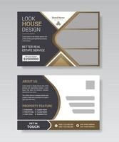 Real estate business postcard template design. vector