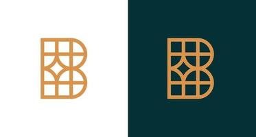 simple classy letter B logo with geometric pattern vector