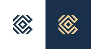 Simple abstract Letter C logo in rectangular pattern vector