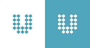 Letter U, DNA science logo vector