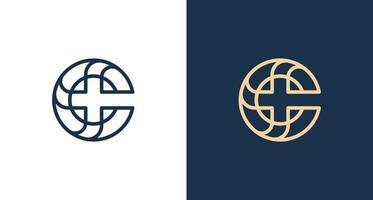 Modern elegant letter C, Cross icon logo vector
