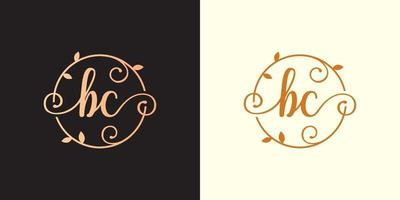 Decorative, luxury Letter BC initial, Classy Monogram logo inside a circular stalk, stem, nest, root with leaves elements. Letter BC flower bouquet wedding logo vector