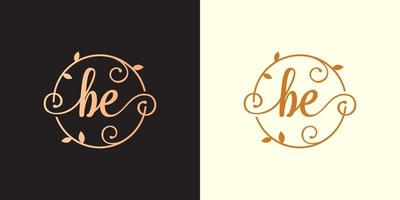 Decorative, luxury Letter BE initial, Classy Monogram logo inside a circular stalk, stem, nest, root with leaves elements. Letter BE flower bouquet wedding logo vector