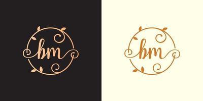Decorative, luxury Letter BM initial, Classy Monogram logo inside a circular stalk, stem, nest, root with leaves elements. Letter BM flower bouquet wedding logo vector