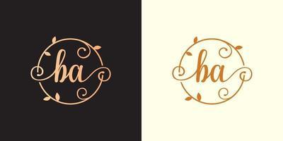 Decorative, luxury Letter BA initial, Classy Monogram logo inside a circular stalk, stem, nest, root with leaves elements. Letter BA flower bouquet wedding logo vector