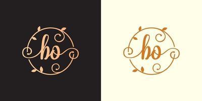 Decorative, luxury Letter BO initial, Classy Monogram logo inside a circular stalk, stem, nest, root with leaves elements. Letter BO flower bouquet wedding logo vector