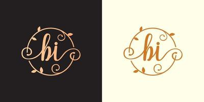 Decorative, luxury Letter BI initial, Classy Monogram logo inside a circular stalk, stem, nest, root with leaves elements. Letter BI flower bouquet wedding logo vector
