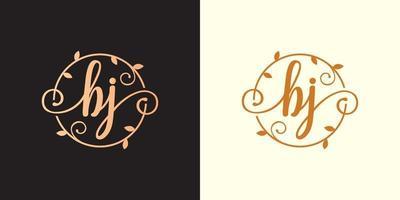 Decorative, luxury Letter BJ initial, Classy Monogram logo inside a circular stalk, stem, nest, root with leaves elements. Letter BJ flower bouquet wedding logo vector