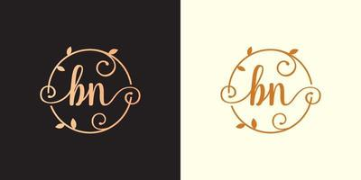 Decorative, luxury Letter BN inside a circular stalk, stem, nest, root with leaves elements. Letter BN flower bouquet wedding logo vector