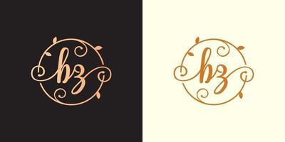 Decorative, luxury Letter BZ initial, Classy Monogram logo inside a circular stalk, stem, nest, root with leaves elements. Letter BZ flower bouquet wedding logo vector