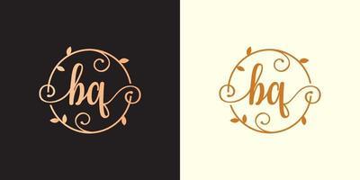 Decorative, luxury Letter BQ initial, Classy Monogram logo inside a circular stalk, stem, nest, root with leaves elements. Letter BQ flower bouquet wedding logo vector