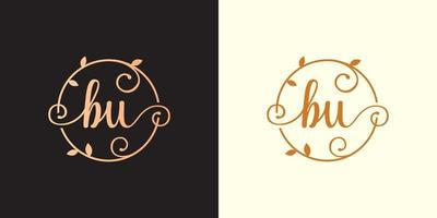 Decorative, luxury Letter BU initial, Classy Monogram logo inside a circular stalk, stem, nest, root with leaves elements. Letter BU flower bouquet wedding logo vector