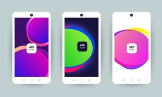conjunto de coloridos diseños de fondo abstracto en teléfonos móviles vector