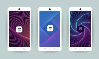 Set of colorful abstract background designs on mobile phones vector
