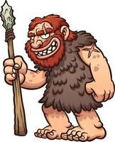 Happy cartoon caveman vector