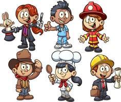 niños con diferentes ocupaciones. vector