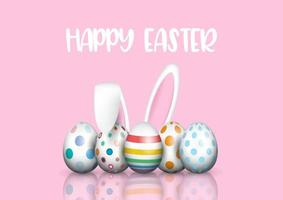 Cute easter background with bunny ears vector