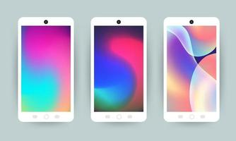 Mobile phones with holographic wallpapers vector