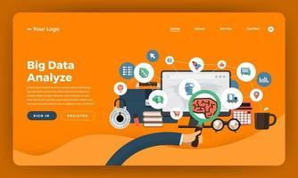 Big data analysis website mockup design vector
