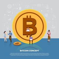Flat design concept of bitcoin cryptocurrency vector
