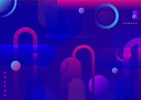 Círculo geométrico abstracto, fondo de color vibrante dinámico de color azul y rosa de forma redondeada. vector