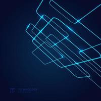 Abstract geometric glow neon blue line overlapping perspective on dark background technology concept.