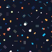 Abstract different geometric shapes pattern circles, triangles, lines, squares, hexagons bright and colorful color on dark background. vector