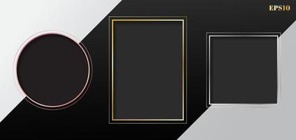 Set of blank gray geometric rectangle, square, circle frame golden, pink gold, silver border on white and black striped background. vector