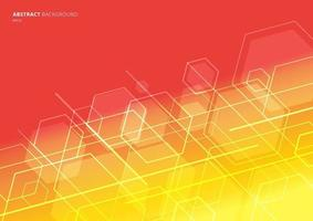 Abstract technology concept geometric hexagon with lines diagonal on red and yellow background. vector
