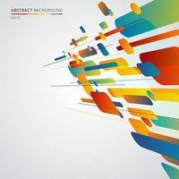 Composición dinámica de formas geométricas abstractas hecha de varias líneas redondeadas de colores perspectiva diagonal sobre fondo blanco. vector