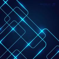 Abstract geometric glow neon blue line overlapping on dark background technology concept.