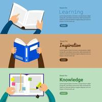 Education and learing with books, flat illustration style vector