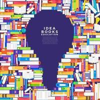 coloridos montones de libros en forma de bombilla. los libros contienen ideas vector