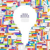 Colorful piles of books in the shape of a lightbulb. Books contain ideas vector