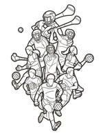 Gaelic Football and Hurling Sport Players Outline vector