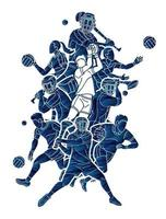Gaelic Football and Hurling Sport Players Action vector