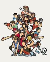 Mixed Sport Players Action Design vector